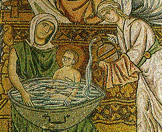 Daphni Monastery - A mosaic from the monastery, depicting the bathing of new-born Christ.