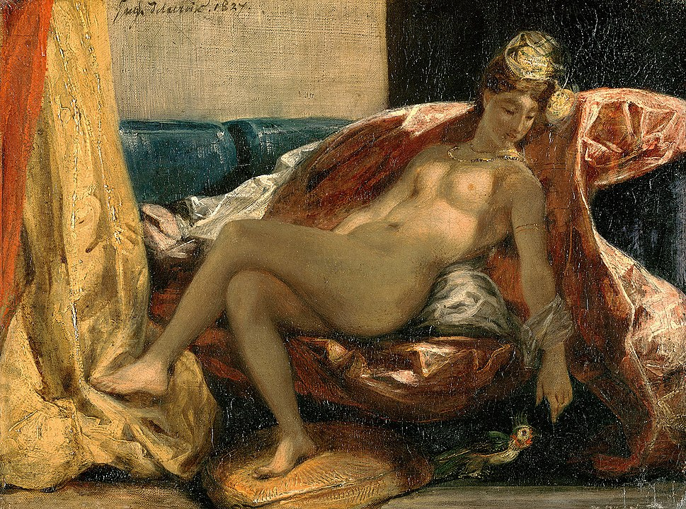 Delacroix, Eugène Ferdinand Victor - Woman with a Parrot - 1827