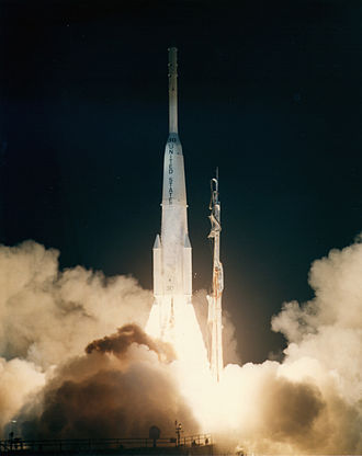 1965 in spaceflight - Launch of a Delta D rocket carrying the first commercial geosynchronous communications satellite, Intelsat I F1