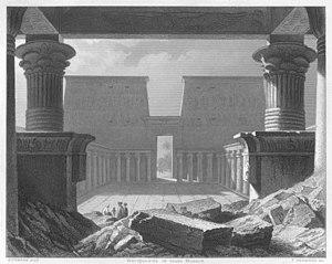 Karl Eduard Biermann - The Forecourt of the  Temple of Edfu