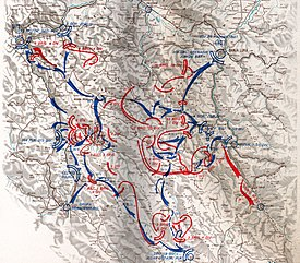 Map showing the deployment of Partisan forces around Drvar.