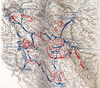 Operation Rösselsprung (1944) - The deployment of Partisan forces around Drvar is shown in red, with German movements shown in blue