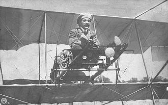 "Dimitrios Kamberos - Dimitrios Kamberos, the first military aviator in Greek history on the ""Daedalus"", a Farman biplane on a 1912 photo."