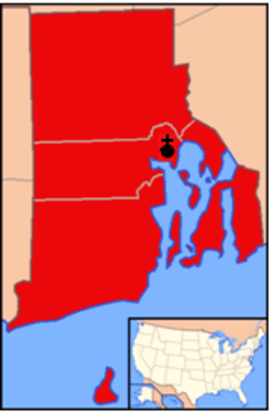 Roman Catholic Diocese of Providence - Image: Diocese of Providence map