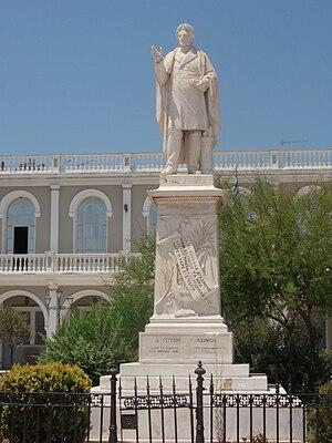 Dionysios Solomos - Dionysios Solomos statue in Zakynthos (city)