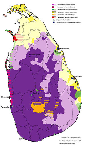 Indian Tamils of Sri Lanka - Distribution of languages and religious groups of Sri Lanka on D.S. division and sector level according to the 1981 Census of Population and Housing