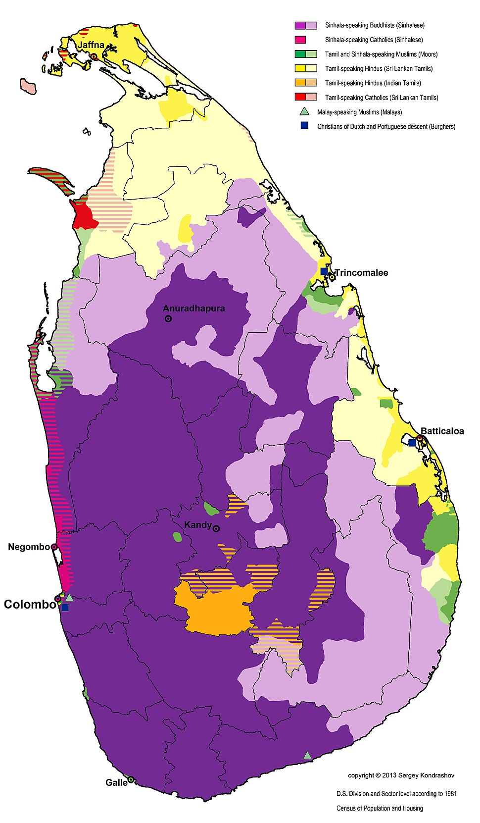 Distribution of Languages and Religious groups of Sri Lanka 1981