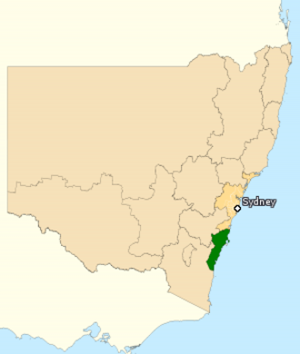 Division of Gilmore - Division of Gilmore in New South Wales, as of the 2016 federal election.