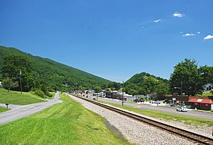 Weber City, Virginia - Railroad tracks and businesses along US 23 in Weber City