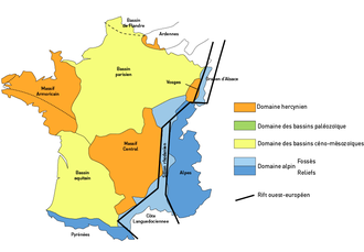 Aquitaine Basin - The geological provinces of France, the Aquitaine Basin on the lower left hand side