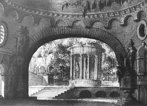 Graveyard scene of act 2 (Prague, probably 1790s), the earliest known set design for the opera Don Giovanni Act2 set design Prague 1790s - NGO 1p1205.jpg