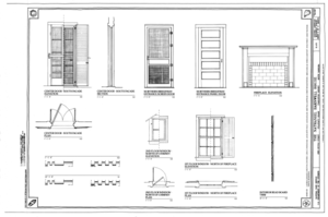 Door, Window and Fireplace Details - Nathaniel Barnwell House, 1023 Middle Street, Sullivans Island, Charleston County, SC HABS SC-875 (sheet 11 of 12).png