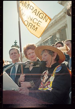 "Doris Haddock - Doris ""Granny D"" Haddock speaking at a podium outside the U.S. Capitol after her walk from Los Angeles to Washington, D.C."
