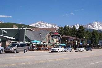 Winter Park, Colorado - Part of downtown Winter Park with the Continental Divide in the background