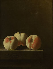 Three Peaches on a Stone Plinth