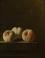 Adriaen Coorte: Three Peaches on a Stone Plinth