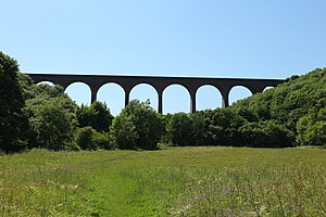 Durham Coast Line - Castle Eden Viaduct which carries the line over Castle Eden Dene, July 2017