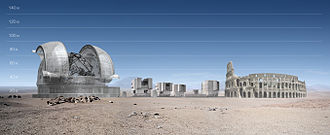 Extremely Large Telescope - ELT compared to the VLT and the Colosseum