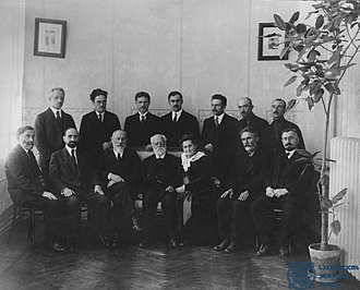 Karl Kautsky - Kautsky with the Georgian Social-Democrats, Tbilisi, 1920. In the first row: S. Devdariani, Noe Ramishvili, Noe Zhordania, Kautsky and his wife Luise, Silibistro Jibladze, Razhden Arsenidze; in the second row: Kautsky's secretary Olberg, Victor Tevzaia, K. Gvarjaladze, Konstantine Sabakhtarashvili, S. Tevzadze, Avtandil Urushadze, R. Tsintsabadze