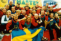 EDBF European Dragon Boat Championships 1996 in Silkeborg, Swedish Mixed Team 500m Podium.jpg