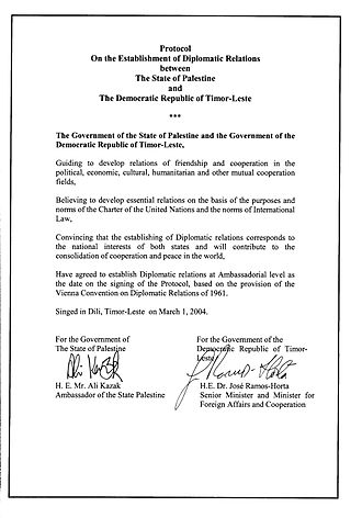 Foreign relations of the State of Palestine - Image: East Timor, Protocol of Diplomatic Relations