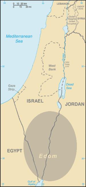 Land of Uz - The ancient kingdom of Edom, sometimes identified with Uz, is approximately the darkened area