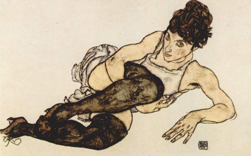 Egon Schiele, ragazza con calze grigie