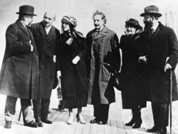Albert Einstein, seen here with his wife Elsa Einstein and Zionist leaders, including future President of Israel Chaim Weizmann, his wife Dr. Vera Weizmann, Menachem Ussishkin, and Ben-Zion Mossinson on arrival in New York City in 1921.