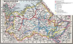 Grand Duchy of Mecklenburg Friedrich-Franz Railway - Railway network in Mecklenburg, based on a 1905 map