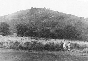 Battle of Coyotepe Hill - Two Marines with Coyotepe Hill in the background in October of 1912.