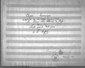 Deckblatt der Sonate fis-Moll Elégie harmonique von Dussek (Quelle: Wikimedia)