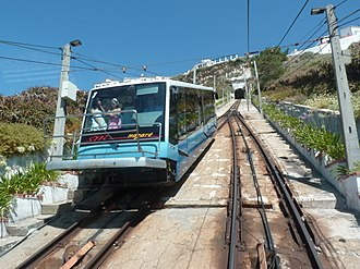 Nazaré Funicular - A view of the modernized carriages descending to Praia