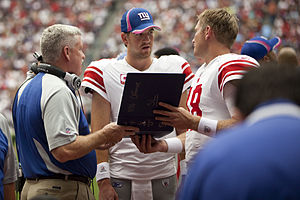 Kevin Gilbride - Gilbride (left) with Eli Manning in 2010.