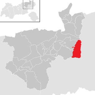 Location of the municipality of Ellmau in the Kufstein district (clickable map)