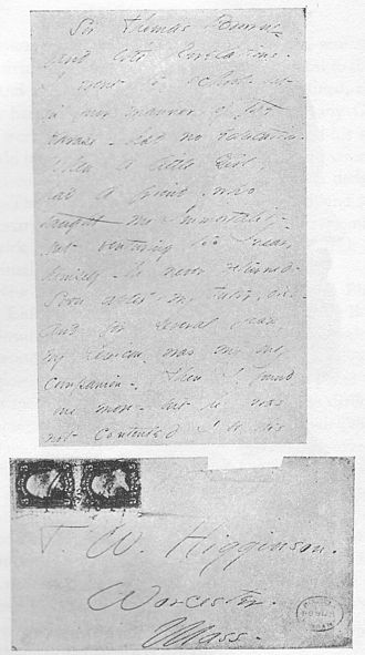 Thomas Wentworth Higginson - Letter and envelope from Emily Dickinson to Thomas Wentworth Higginson
