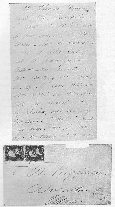 Letter and envelope from Emily Dickinson to Thomas Wentworth Higginson Emily Dickinson's letter about her love.jpg