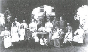 Zita of Bourbon-Parma - The family of Robert I, Duke of Parma. From left to right, first row : Immacolata, Antonia, Isabella, Duke Robert, Henrietta, Luigi, Gaetano, Duchess Maria Antonia, Renato, Zita (sitting on the far right). From left to right, second row: Francesca, Pia, Luisa, Adelaide, Teresa, Joseph, Xavier, Henry, Sixtus, Felix. Villa Pianore, 1906.