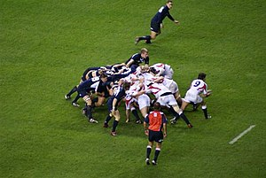 Scrum (rugby union) - A scrum in an England versus Scotland international