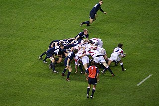 Scrum (rugby union) means of restarting play after a minor infringement in rugby union