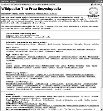 The Wikipedia home page on December 17, 2001 English Wikipedia main page 20011217.jpg