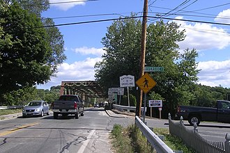 Massachusetts Route 113 - Eastbound entering Groveland along the Bates Bridge