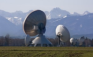 Antenna farm - The dish farm at the Raisting Satellite Earth Station complex and Telehouse, Germany's largest satellite communications facility in Raisting, Bavaria, Germany.