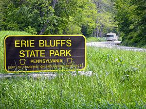 Erie Bluffs State Park - An Erie Bluffs State Park entrance sign