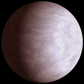 Vue d'artiste de Gliese 581 c, d'après l'hypothèse de la planète océan.