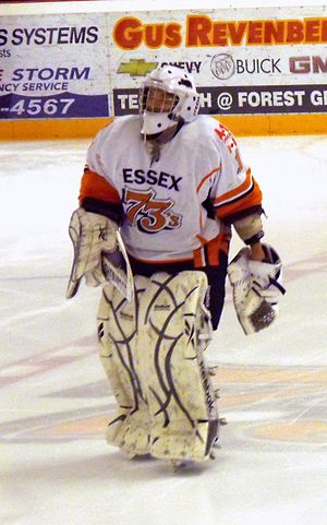Essex 73's - Essex goalie warming up during 2012 playoffs.
