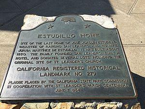 Casa de Estudillo (San Leandro, California) - Plaque of Estudillo Home