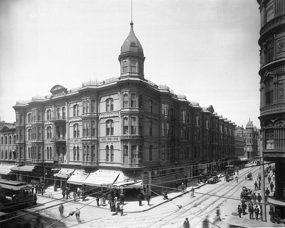 Exterior of the Hollenbeck Hotel on the corner of Spring Street and Second Street, Los Angeles, ca.1900-1905 (CHS-2346)