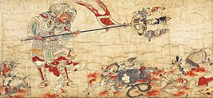 Good and evil - One of the five paintings of Extermination of Evil portrays Sendan Kendatsuba, one of the eight guardians of Buddhist law, banishing evil.