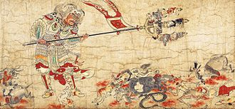 Evil - One of the five paintings of Extermination of Evil portrays Sendan Kendatsuba, one of the eight guardians of Buddhist law, banishing evil.