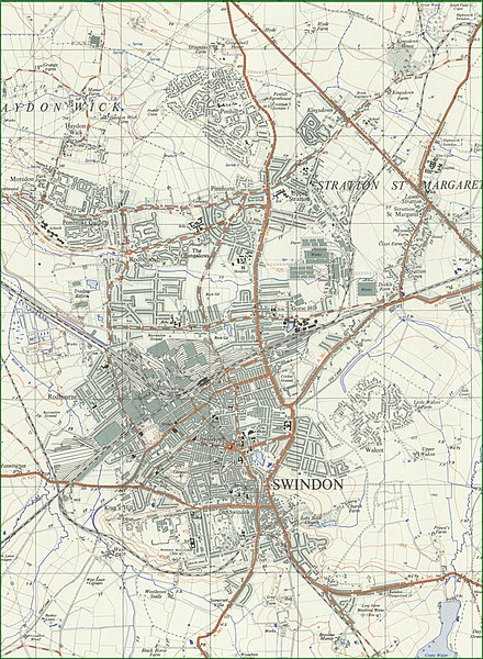 Swindon in 1959. Grid squares are 1km.